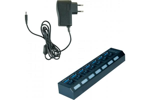 Hub 7 ports USB 3.0 avec interrupteurs + Aimentation 5V 3A