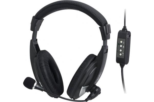 Casque-Micro Stéréo USB noir