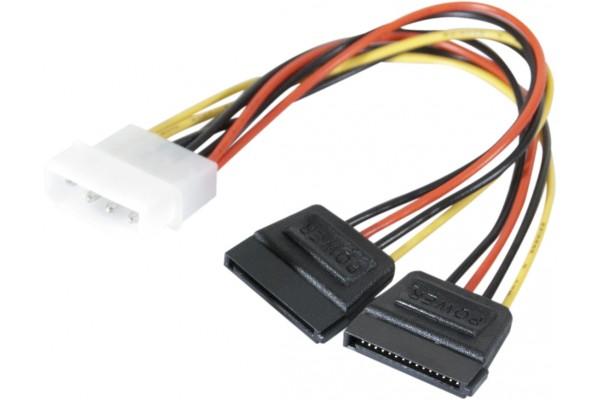 Adaptateur d'alimentation Molex vers 2x SATA – 15 cm