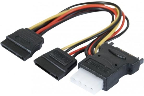 Doubleur d'alimentation SATA vers 2 SATA et 1 Molex – 30 cm
