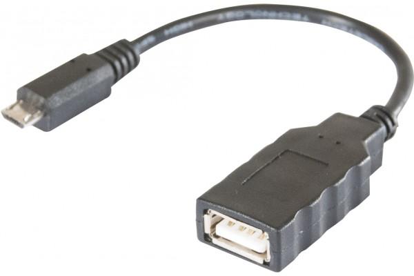 Cordon OTG 2.0 micro B 5 pins M / USB A F noir- 0,15 m