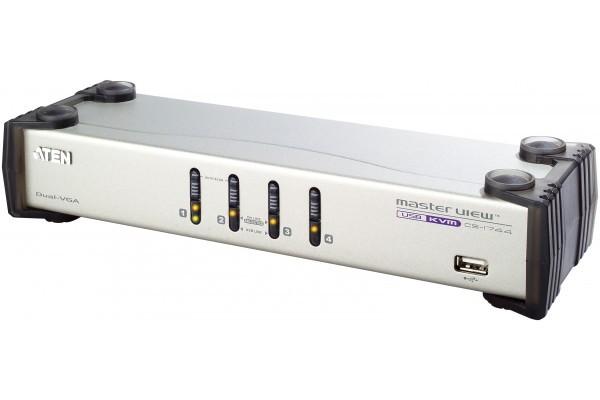 Aten CS1744 KVM VGA-USB 4 ports Dual Screen + Audio