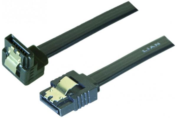 Câble sata 6GB/s coudé bas slim sécurisé (noir) – 20 cm