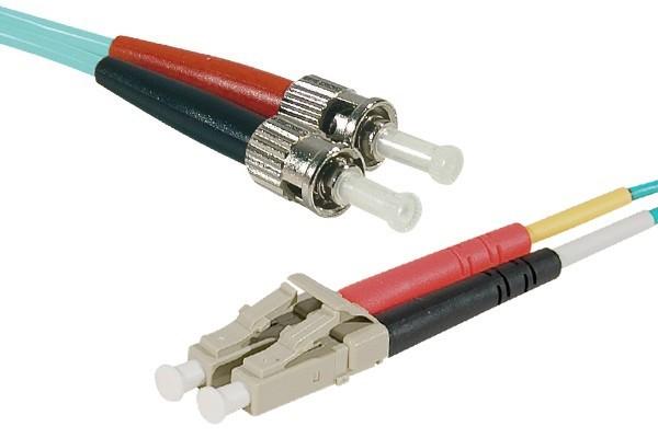 Cordon duplex fibre optique OM4 aqua LS0H lc/st – 1,0 m