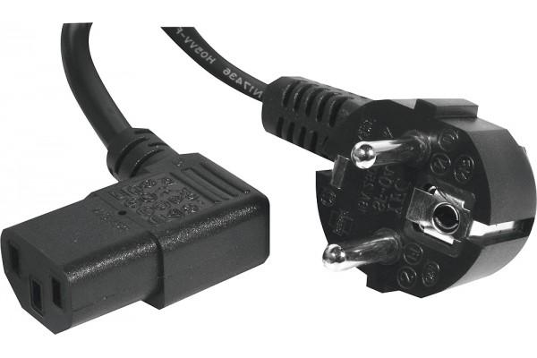 Cordon électrique secteur coudé noir 1.80m