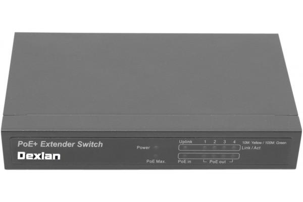 Dexlan Multiprise 10/100 PoE : 1 entrée POE+ /4 sorties PoE
