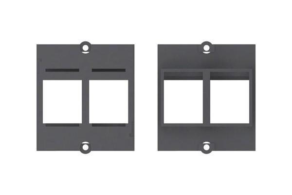 Plastron vide pour 2 embases keystone (RJ45, USB, HDMI)