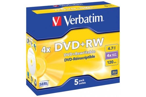 BOITE DE 5 DVD+RW 4x 4,7GB VERBATIM