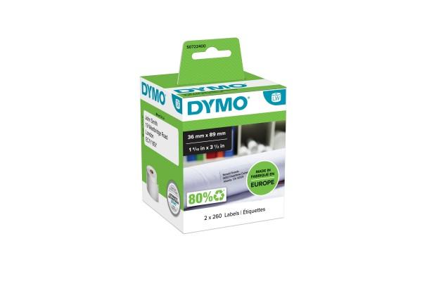 DYMO 2 rouleaux de 260 étiquettes noir sur blanc 89×36 mm