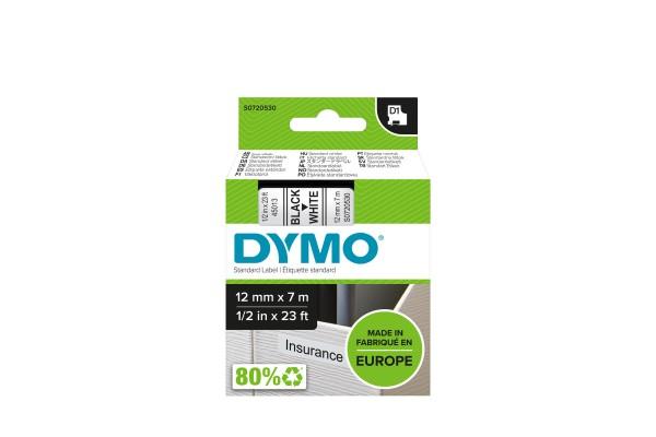 DYMO Ruban D1 – 12 mm noir sur blanc