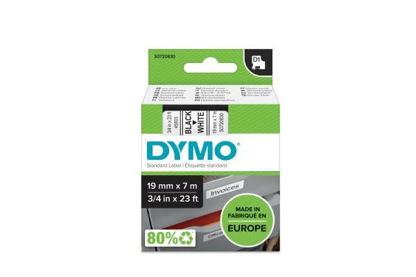 DYMO Ruban D1 – 19 mm noir sur blanc