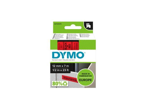 DYMO Ruban D1 – 12 mm noir sur rouge