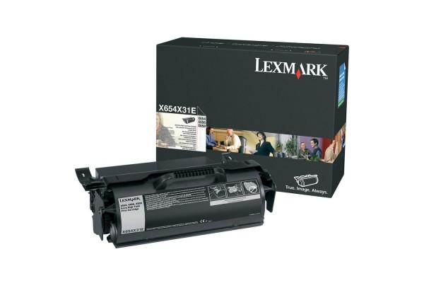 Toner LEXMARK X654X31E X654, X656, X658 – Noir